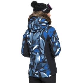 Roxy Jet Ski Premium Snow Jacket Women, mazarine blue striped leaves